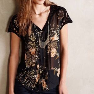 Anthropologie | Meadow Rue Floral and Lace Blouse